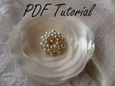 Jenny Glass pearl crystal brooch component PDF tutorial Fabric flower bouquet component Hair pin applique Wedding decoration