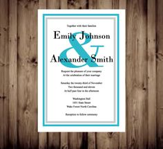 Turquoise and gray wedding invitation 1 invite=$1.00 includes free envelope. RSVP and info cards available Glamourcards.etsy.com
