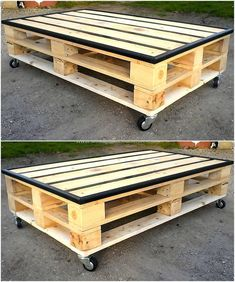 Pallet Table Plans pallets made table on wheels - Used pallets are thrown away and considered as garbage by most of the individuals because they don't know the value of them as they don't. Pallet Lounge, Diy Pallet Sofa, Diy Furniture Couch, Reclaimed Wood Furniture, Diy Pallet Projects, Pallet Ideas, Palette Furniture, Pallet Bench, Pallet Designs