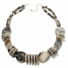 Jay King Black and White Dendritic Opal Necklace