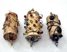 Wine cork ornaments with beads
