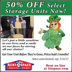 Take advantage of our St. off select units rented during the month of March. Talk to your local AAAAA Rent-A-Space storage Consultant for more details. Self Storage Company, Business Storage, West Maui, Storage Facility, Shop Local, Storage Spaces, March, The Unit, Mars