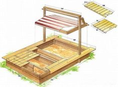 Childrens sandpit for the garden with his hands photo