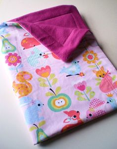 Kawaii Critters Baby Toddler Blanket w pink by carouselbelle, $30.00