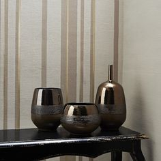 Hoppen Stripe Wallpaper in Taupe and Gold design by Kelly Hoppen for Graham