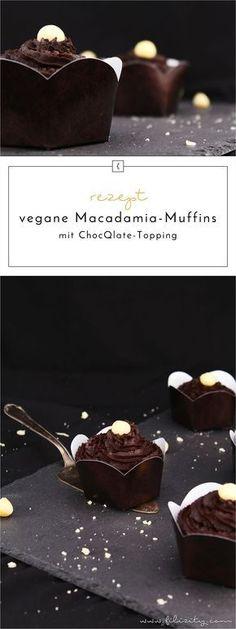 Rezept für vegane Macadamia-Muffins mit ChocQlate-Topping / Schokoladen-Creme