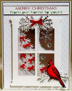 """holidays in july Kreative Korner By Kelly: Christmas In July The Cardinal on this card is a Heartfelt Creation stamp and die. The window is a Memory Box die and the """"tree"""" under the acetate on the window is the infamous Martha Stewart branch punch Christmas Cards To Make, Christmas In July, Xmas Cards, Handmade Christmas, Holiday Cards, Christmas Crafts, Merry Christmas, Beach Christmas, Christmas Greetings"""
