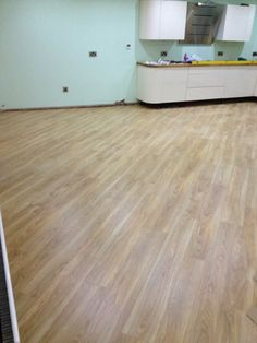 Laminate flooring laid in a kitchen area