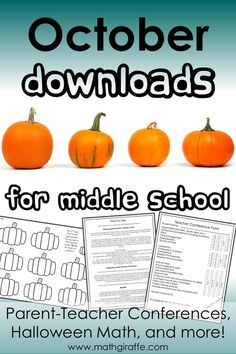 Parent-Teacher Conferences, Halloween Math, and more! Parent Teacher Conferences, Math Teacher, Math Classroom, Classroom Ideas, Education Quotes For Teachers, Parents As Teachers, Math Education, Special Education, Halloween Math