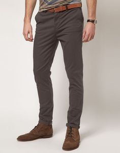 ASOS Slim Chinos (Grey) Size:To Fit Waist 30 L 76 cm RRP £22.00