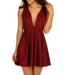 Burgundy Pleat and Flare Skater Dress Event Dresses cc2010d067f0
