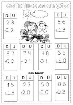 atividades-de-matematica-continhas-de-adicao-2 — Só Escola Addition And Subtraction Worksheets, 2nd Grade Math Worksheets, School Worksheets, 1st Grade Math, Class 1 Maths, Touch Math, Math Sheets, Preschool Writing, Teacher Tools