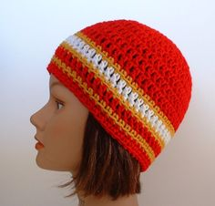San Francisco 49ers Team Colors Striped Beanie for Men Women Teens. $12.00, via Etsy.