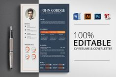 CV Resume Word Template by Business Flyers on Cv Words, Resume Words, Resume Writing, Resume Design Template, Cv Template, Resume Templates, Print Templates, Design Templates, Resume Tips