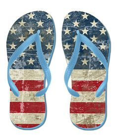 This Vintage USA Flag Flip-Flop is perfect! #zulilyfinds