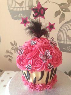 Animal print giant cupcake Unicorn Cakes, 30 Birthday Cake, Giant Cupcakes, Animal, Signs, Desserts, Cookies, Tailgate Desserts, Deserts