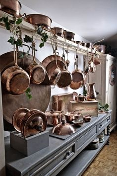 Hammered copper cookware by Amoretti Brothers on a pot rack www. Copper Kitchen Accessories, Copper Kitchen Decor, Copper Decor, Copper Kitchen Utensils, Kitchen Canisters, Rustic Kitchen, Copper Pots, Hammered Copper, Brass