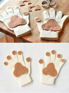 10 Totally Awesome DIY Glove Puppets ⋆ Handmade Charlotte - - Make Puppy Paws With This Super Easy No Sew Tutorial – Handmade Charlotte Dog Costumes For Kids, Diy Dog Costumes, Dog Halloween Costumes, Kids Puppy Costume, Children Costumes, Toddler Dog Costume, Christmas Costumes, Costume Ideas, Couples Halloween