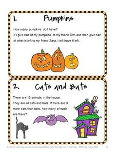 Halloween math brain teasers from Halloween Math Games, Puzzles and Brain Teasers by Halloween Math from Games 4 Learning. $