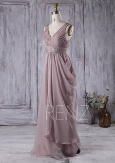 Rose Gray Bridesmaid Dress With Bead Ruched D Chiffon Wedding V Neck Prom Long Formal Floor Length L142