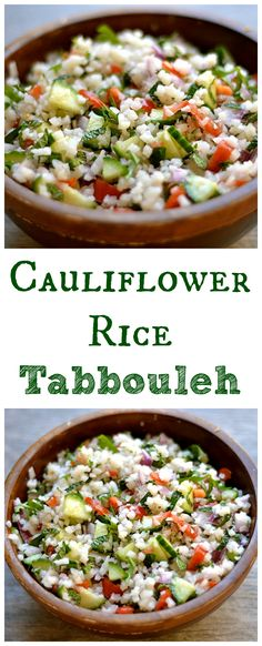 Delicious and EASY grain-free way to enjoy Tabbouleh! Took me 5 minutes to make,… Delicious and EASY grain-free way to enjoy Tabbouleh! Took me 5 minutes to make, and less than 5 minutes to eat! Paleo, Whole Gluten-Free, and Vegan. Low Carb Recipes, Real Food Recipes, Vegetarian Recipes, Cooking Recipes, Healthy Recipes, Disney Recipes, Disney Food, Rice Recipes, Paleo Whole 30