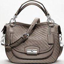 new kristin woven leather round satchel  COACH Kristin Woven Leather Round Satchel in Mushroom! - 19312  $498