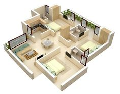 3D Small House Open Floor Plans with 3 Bedroom