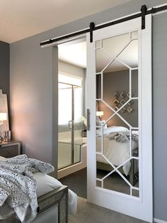 Sharing the process we took in creating our DIY glam barn door. This is the perfect way to create your own customized barn door without spending thousands. Diy Barn Door, Diy Door, Glam Living Room, Living Room Decor, Home Bedroom, Bedroom Decor, Master Bedroom, Bedrooms, Barn Door Designs