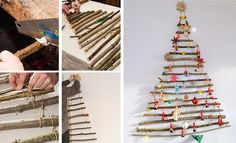 Tutoriel : fabrication d'un sapin de Noël avec des branches de bois à fixer au mur. Diy Christmas Tree, Christmas Time, Xmas, Kids And Parenting, Advent Calendar, Projects To Try, Holiday Decor, Branches, Home Decor