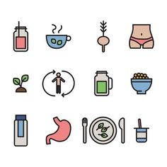 Outlined Detox Icons Free Vector Art Graphics Icon Set