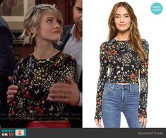 Caroline's floral long sleeved top on The Bold and the Beautiful. Outfit Details: https://wornontv.net/57053/ #TheBoldandtheBeautiful