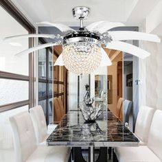Discount 42 inch ceiling fan light Invisible Crystal Light Ceiling Fans Modern LED crystal Parlor Ceiling Fans Crystal Light Remote Control 42-inch 220V 110V