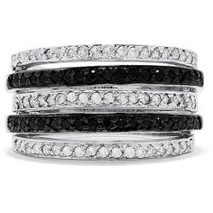 Effy Jewelry Effy 14K White Gold Black and White Diamond Stripes Ring,... ($1,898) ❤ liked on Polyvore featuring jewelry, rings, diamond jewelry, 14k ring, 14 karat gold ring, diamond jewellery and 14 karat ring