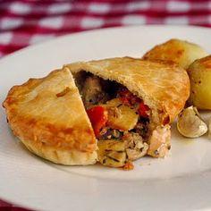 Chicken and Roasted Vegetable Pot Pie, good crust recipe, food, comfort food, add peas