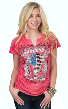 Sinful by Affliction Women's Rose Topeka Rain Flag Skull Logo Short Sleeve Tee | Cavender's