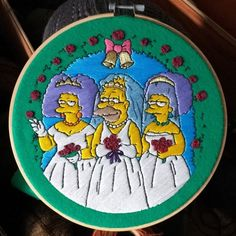 👰 How about a crazy wedding? Modern Embroidery, Embroidery Patterns, Hand Embroidery, Simpsons Art, Crazy Wedding, Couture, Decorative Plates, Draw, Stitch