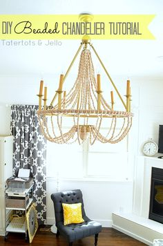 DIY Beaded Chandelier Tutorial at Tatertots and Jello #DIY #chandelier #lightfixture #craft