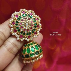 Indian Jewelry Earrings, Silver Jewellery Indian, Jewelry Design Earrings, Indian Jewellery Design, Gold Earrings Designs, Ruby Jewelry, Ear Jewelry, Beaded Jewelry, Gold Jewelry