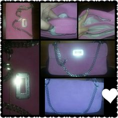 Michael kors pink handbag Suede leather..pink..100% authentic Michael kors night out bag!! Three compartments..pretty roomy! Scratching on name plate is visible and silver chains need cleaned but otherwise its spotless inside and the gorgeous soft leather!! Michael Kors Bags