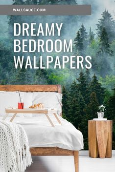 Bring the outdoors into your home in a big way with our large scale botanical or forest wallpaper. Create a nature inspired accent wall mural in your bedroom.  We have two types of paste the wall wallpaper: classic and premium. We also have a self-adhesive wallpaper called peel and stick. Find out more from Wallsauce! #wallpaper #masterbedroom #bedroomideas #featurewall