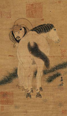 元代 - 趙孟頫 - 牧馬圖                                 Zhao Mengfu (1254–1322), was a prince and descendant of the Song Dynasty's imperial family, and a Chinese scholar, painter and calligrapher during the Yuan Dynasty.