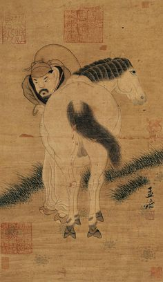元代 - 趙孟頫 - 牧馬圖                                 Zhao Mengfu (1254–1322), was a prince and descendant of the Song Dynasty's imperial family, and a Chinese scholar, painter and calligrapher during the Yuan Dynasty.