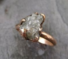 Raw Diamond Solitaire Engagement Ring Rough 14k rose Gold Wedding Ring diamond Wedding Set Stacking Ring Rough Diamond Ring