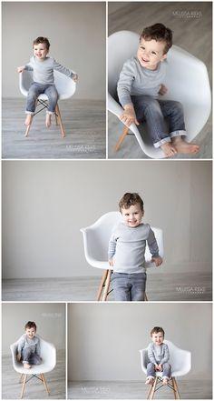 Modern White Chair Prop used for Children's Photo Session at Kansas City Photographer Melissa Rieke's Studio. http://www.melissariekephotography.com/modern-white-chair-mini-photo-shoot/