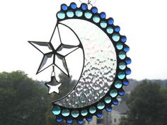 Stained Glass Suncatcher  Moon and Stars  by CreativeSpiritGlass