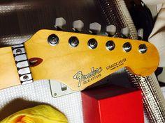 弦を交換した際に撮影した写真です。Sperzel Trim Lock Tunerと、Wilkinsonローラーナットです。