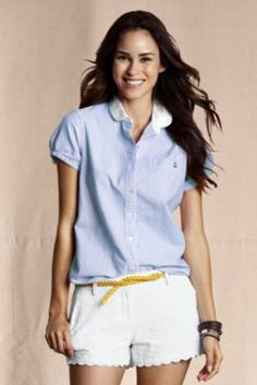 Women's Short Sleeve Patterned Anchor Oxford Shirt from Lands' End Canvas