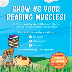 Show us your reading muscles! Reading Programs For Kids, Online Reading Programs, Library Programs, Summer Slide, Pose For The Camera, Reading Challenge, Ya Books, Show Us, Strike A Pose