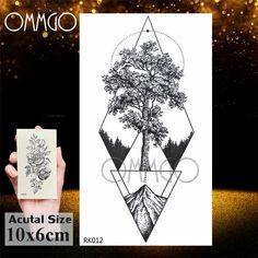 Fake Tattoos, Leg Tattoos, Black Tattoos, Birch Tree Tattoos, Pine Tree Tattoo, Geometric Trees, Geometric Nature, Triangle Tattoo Design, Bohemian Tattoo