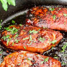Korean Style Pork Chops Recipe Main Dishes with pork chops, olive oil, soy sauce, honey, garlic, sesame oil, ginger, Sriracha, black pepper